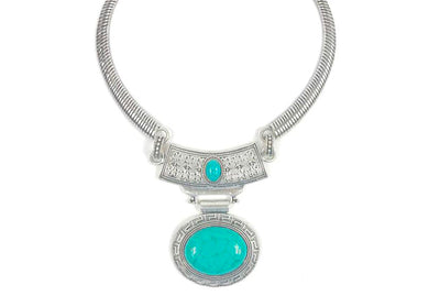 Oval shaped Necklace with Blue Stone