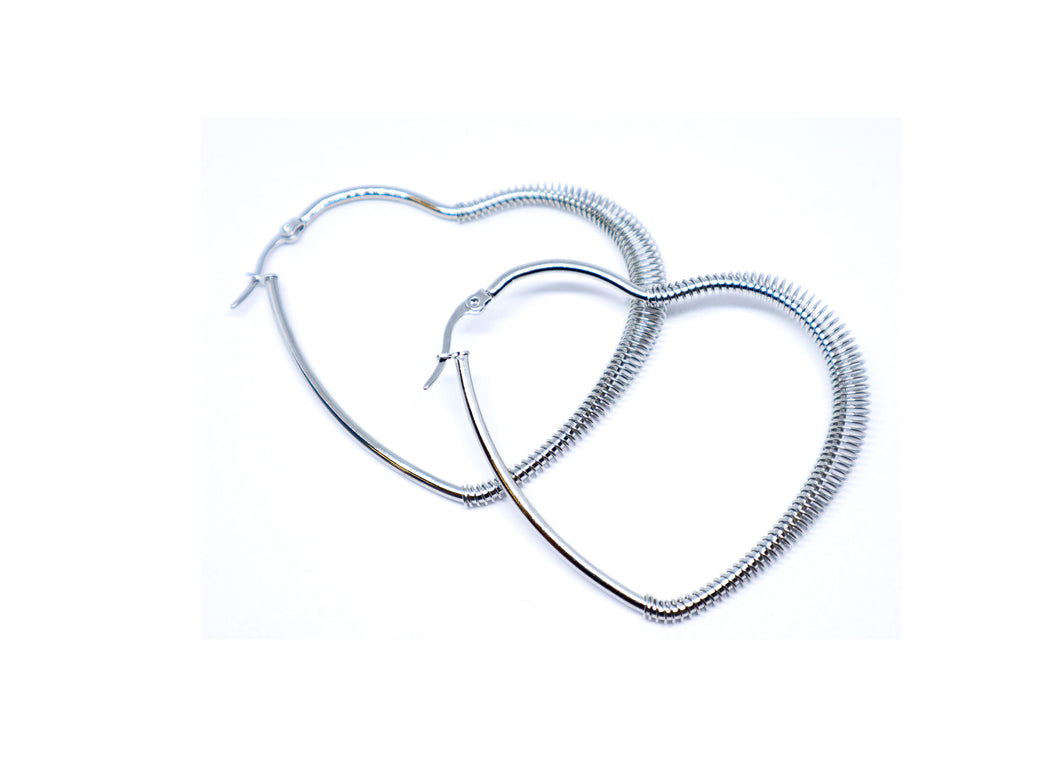Heart Silver color 2 Inches Hoop Earrings