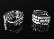 Three rows diamond earrings