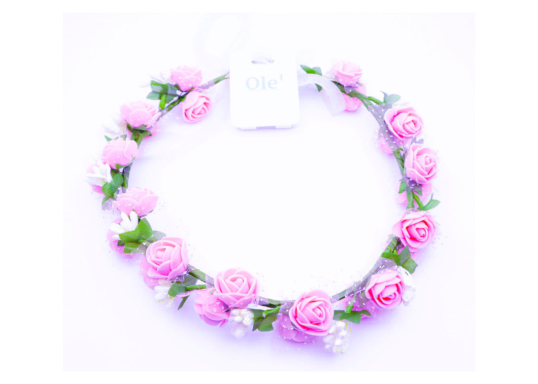 Double Pink and White Flower Crown