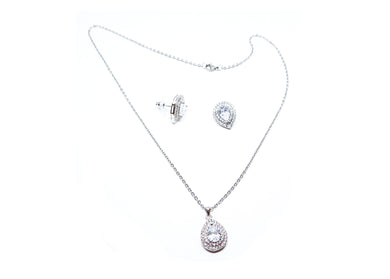 Silver Color Earrings + Necklace Set