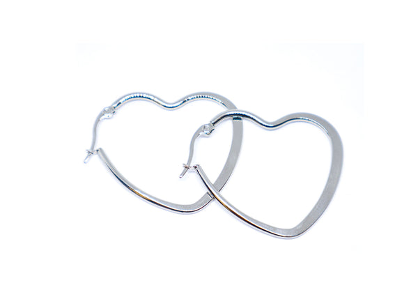Heart Silver color 1 Inches Hoop Earrings