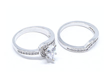 2 Pcs/set Classic Cubic Zirconia Womens Water Drop Ring