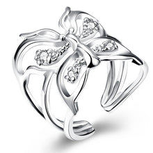 Adjustable Silver Zircon Butterfly Ring