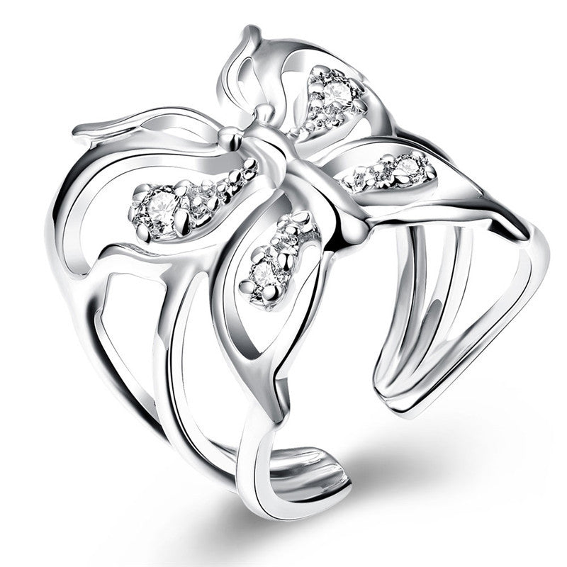 Adjustable Silver Zircon Butterfly Ring (Silver)