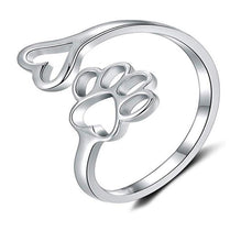 Dog Cat Paw Print Love Heart Ring Opening Adjustable Ring Pet Animal Claw Ring Jewelry for Women Men Gilrs Boys