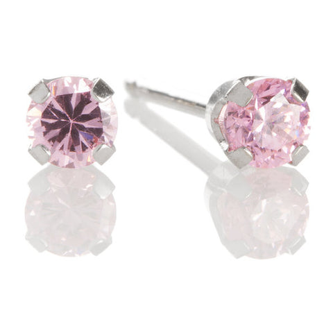Ear Piercing 14kt White Gold 3mm October Pink  Ice CZ