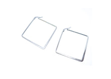 Silver Color Square 2 Inches Hoop Earrings