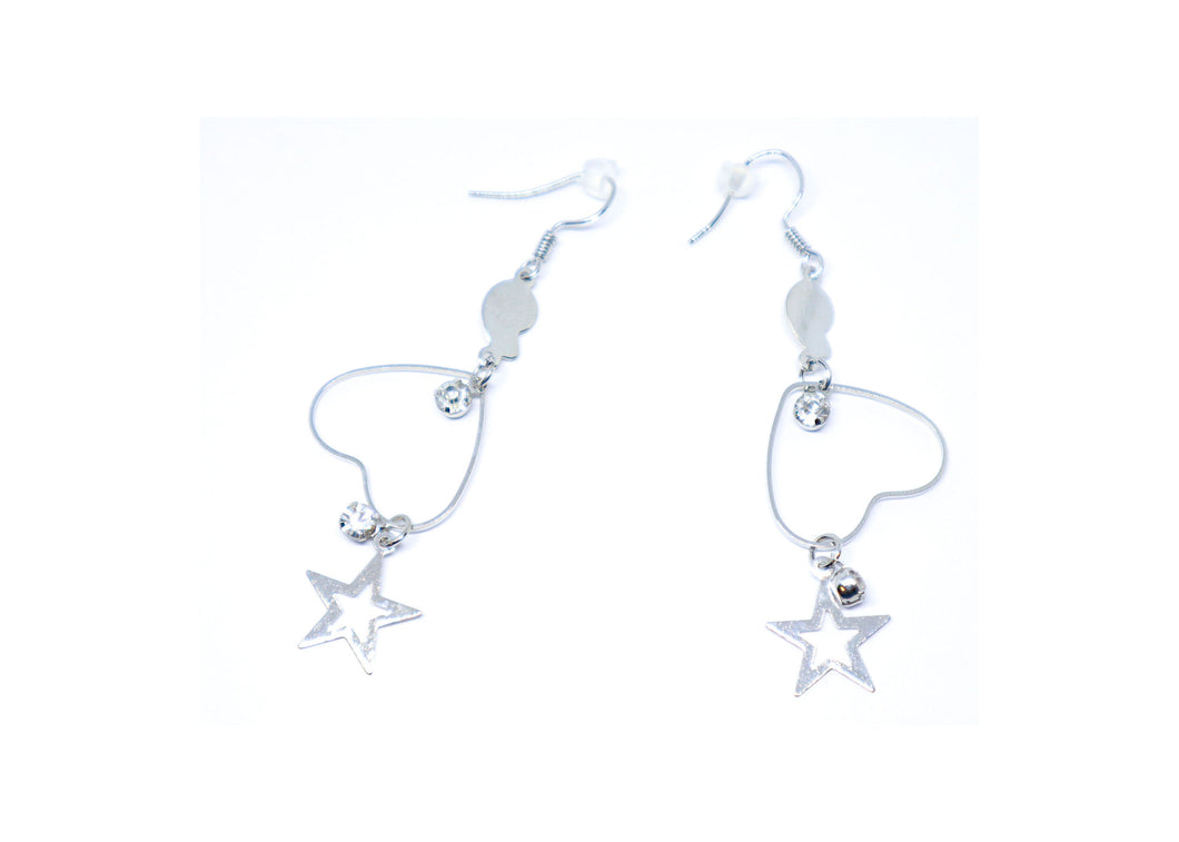 Heart with Stars Droop Earrings