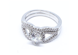2 Pcs/set Classic Cubic Zirconia Womens Infinity Ring