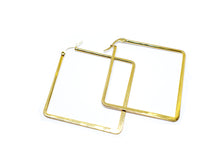 Golden Color Square 2 Inches Hoop Earrings