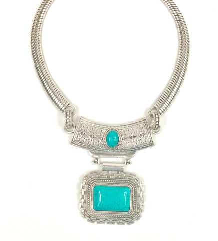 Square shaped Metal Necklace with blue stone