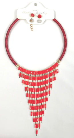 Red Choker and Earrings set