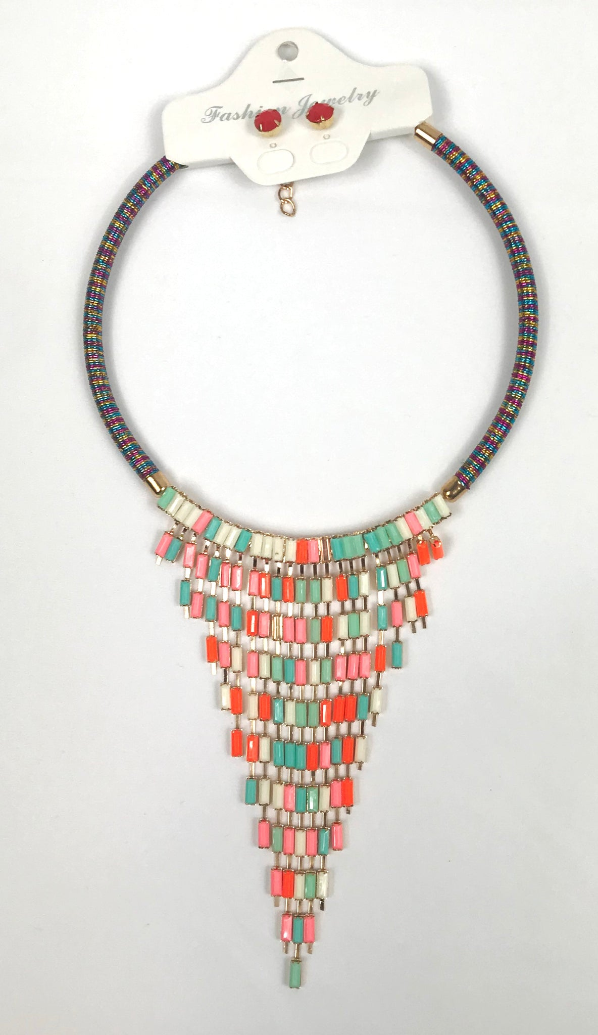 Colorful Choker Set With Earrings