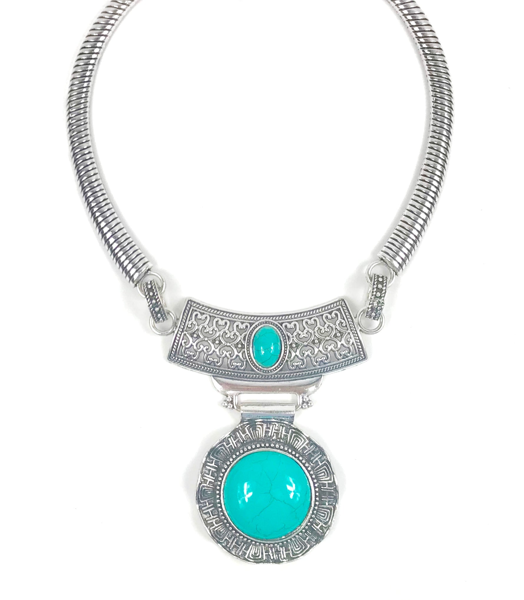 Silver Metal Necklace with Blue Stone