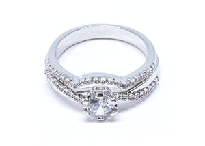 2 Pcs/set Classic Cubic Zirconia Womens Simple Ring