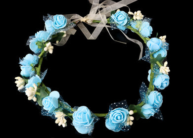 Double Blue and White Flower Crown