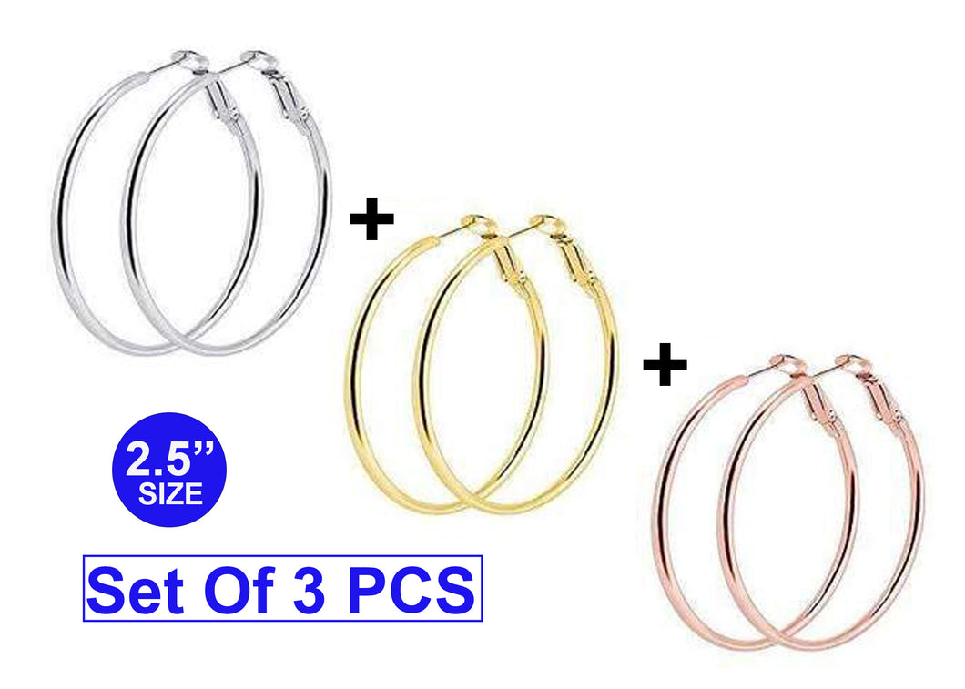 Set Of 3 Hoop Earrings Silver, Gold and Rose-Gold Color  Size: 2.5 Inches Cartilage Lip Rings for Women Girls