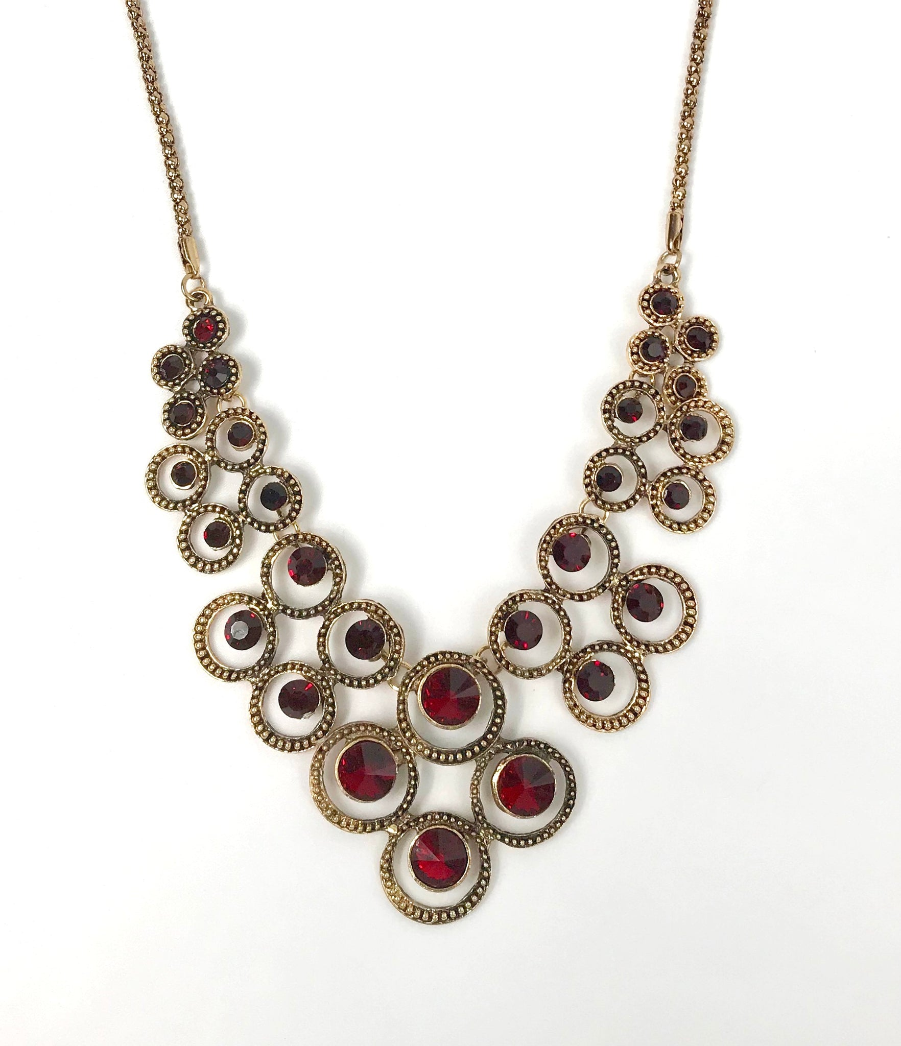 Gold and Dark Red Necklace