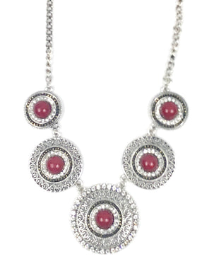 Silver and Red Rhinestone Necklace