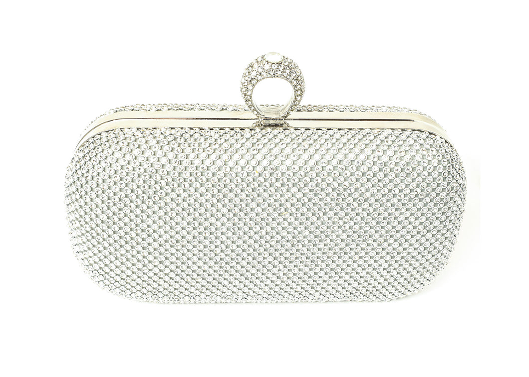 Silver Fashion Rhinestone Studded Purse