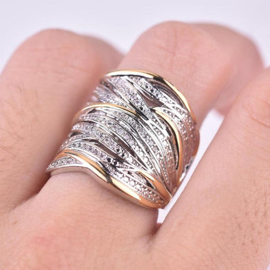 Multi-layer Gold Two-Tone Ring High Quality Simulation Crystal Silver Color Wedding Ring