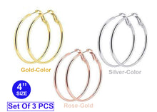 Set Of 3 Hoop Earrings Silver, Gold and Rose-Gold Color  Size: 4 Inches Cartilage Lip Rings for Women Girls