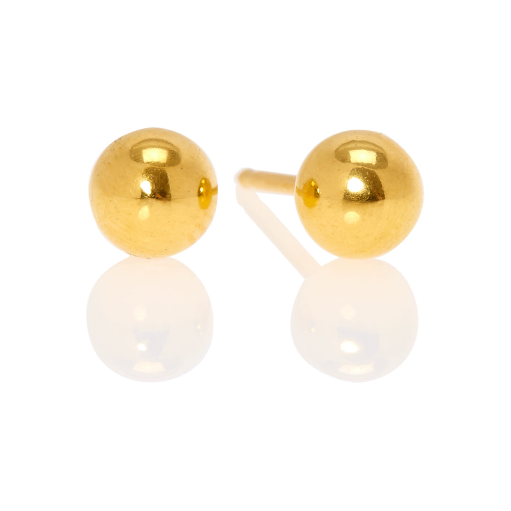 Ear Piercing 24kt Gold Plated 5mm Ball
