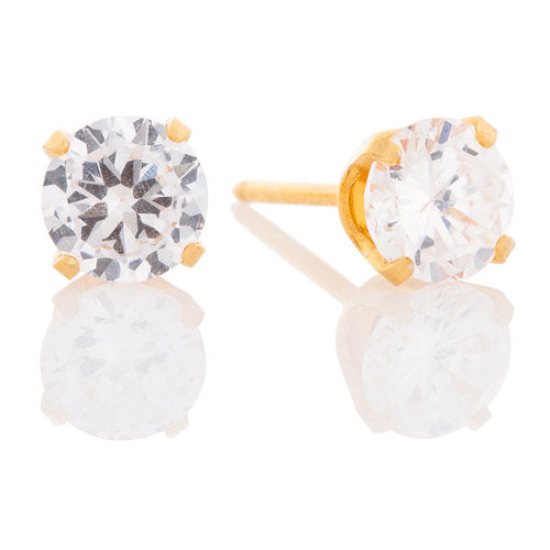 Ear Piercing 24kt Gold Plated 5mm CZ