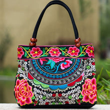Vintage Embroidery Boho Womens Handbag Mandala Flower Embroidered Totes Travel Beach Bag