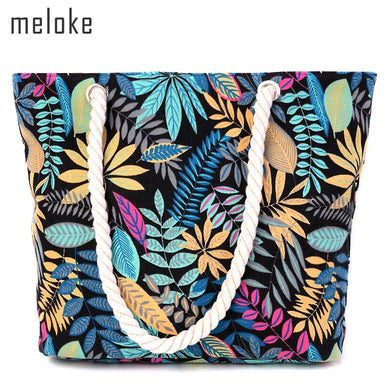 printing leaves shoulder bags cotton shoulder bags for girls large size beach bags shopping bags MN181