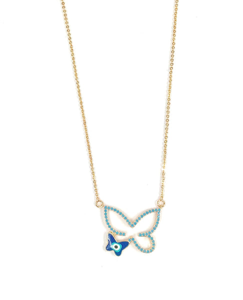 Blue and Gold Butterfly Necklace