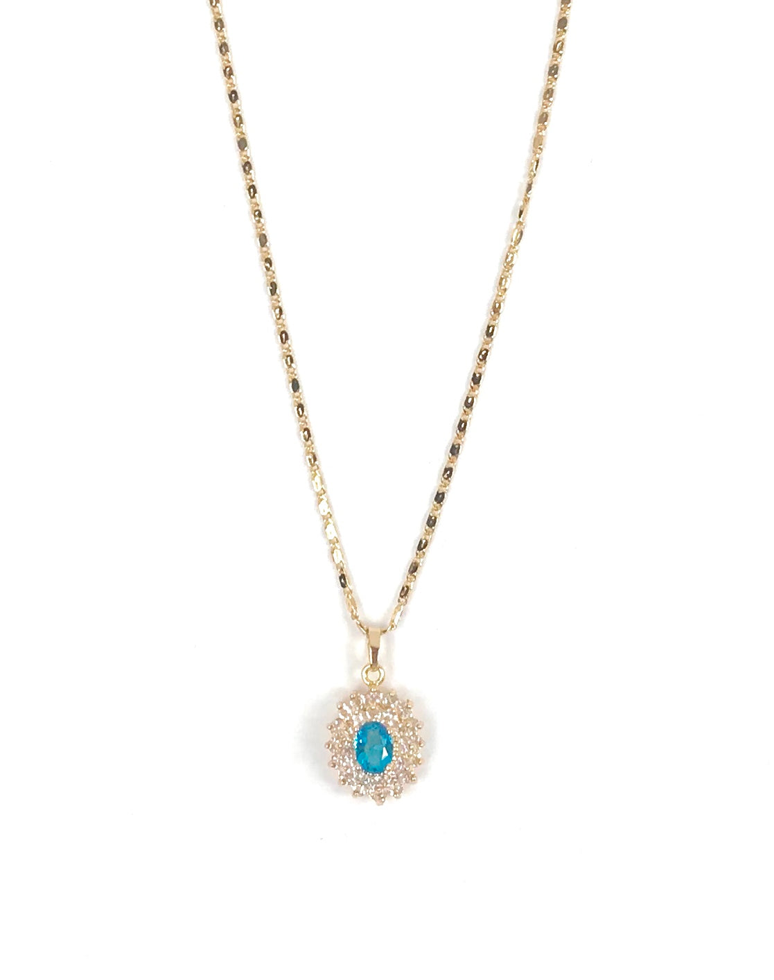 Gold and Blue Snowflake Pendant Necklace