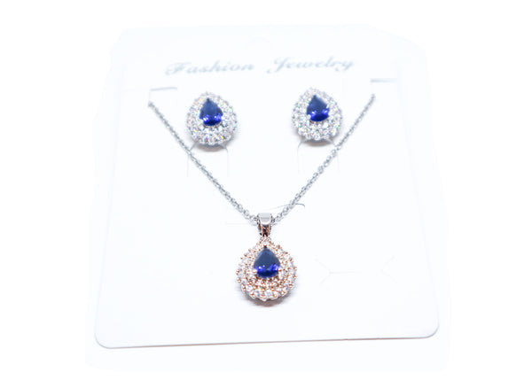 Blue Zircon Stone Earrings + Necklace Set