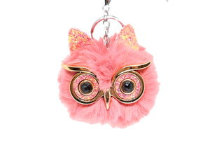 Pink Cat Face  fluffy Key chain