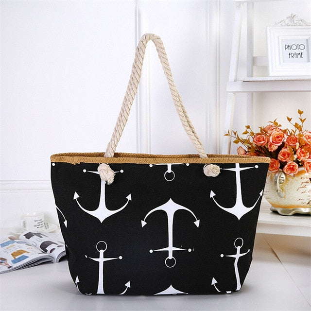 Large Capacity Summer Bag Hemp Rope Straw Weave Printed Anchor Canvas Bag Shopping Big Tote Beach Bag