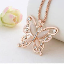 Rose Gold Opal Butterfly Pendant Women's Exquisite Necklace Sweater Chain jewelry