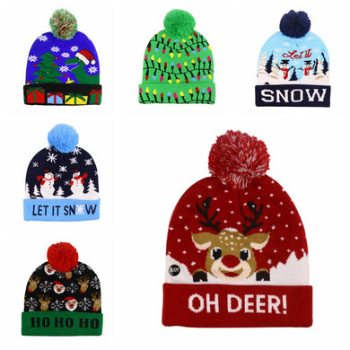 LED LIGHT Snowman Elk Christmas Tree Flanged Ball Knit Cap