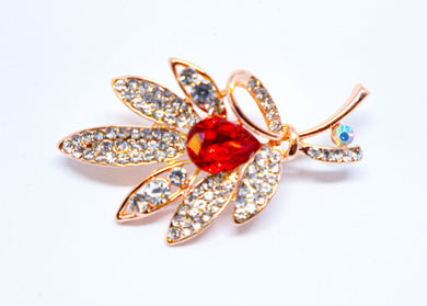 Red Crystal flower brosh