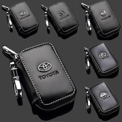 New Genuine Leather Car Key Holder Case Key Chain Wallet Bag Cover Fobs for For Toyota Hyundai Peugeot Nissan and Other All Cars