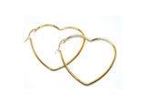 Heart Golden color 2 Inches Hoop Earrings