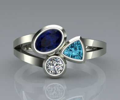 Beautiful Irregular Three-Color Ring