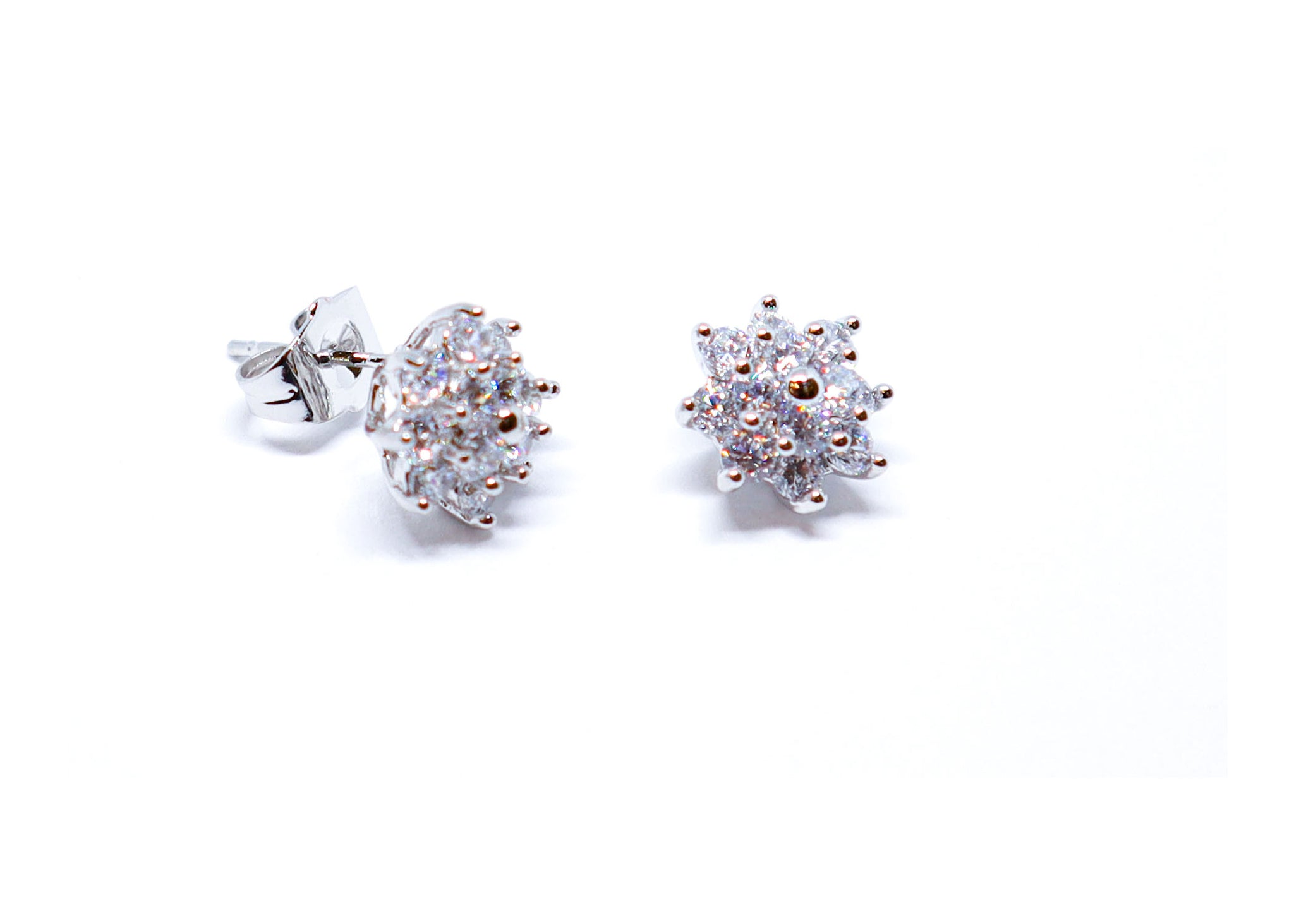 Double flower diamond earrings