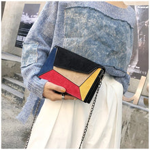 Autumn winter female small flap bag new trend matte PU patch shoulder messenger bag panelled color fashion small square bag