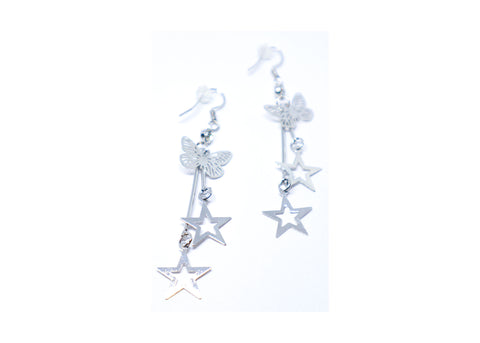 Stars Butterfly Droop Earrings