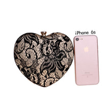 heart-shaped Handbag banquet bag evening dress clutch bag