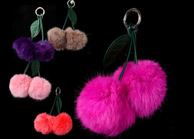 Double Fluffy Cute Cat Face Key Chain Fur Pom Pom, Keyring Keychain Bag Car Decor