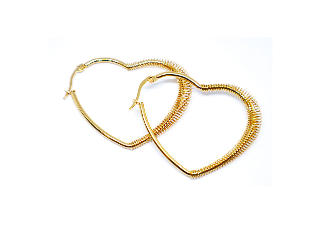 Heart Golden Color with Roll 2 Inches Hoop Earrings