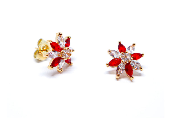 Red and silver flower earrings