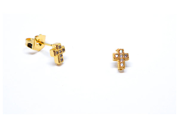 Golden cross earrings